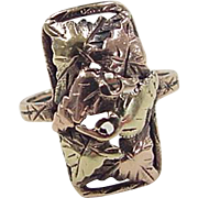 SALE Vintage 10k Two-Tone Black Hills Gold Leaf Ring