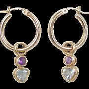 SALE Vintage 14k Gold Amethyst and Blue Topaz Heart Hoop Earrings