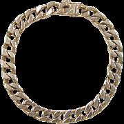 """SALE Vintage 14k Gold Gents Curb Link Bracelet ~ 8 1/4"""" ~ 37.0 Grams"""