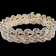"""SOLD Vintage 14k Gold Two-Tone Wide Bracelet ~ 7 1/2"""""""