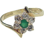 SOLD Vintage 14k Gold Emerald and Faux Diamond Ring