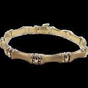 "SOLD Vintage 18k Gold Two-Tone Bamboo Bracelet ~ 7"""