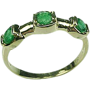 REDUCED Genuine Natural Emerald 3 Stone Band 14k Yellow Gold