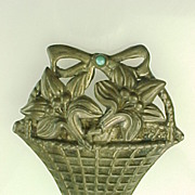 REDUCED MEXICO Sterling Silver Floral Basket Brooch With Turquoise Accent