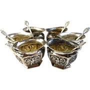 Set of 6 Estate 800 Silver Open Salt Cellars and Spoons