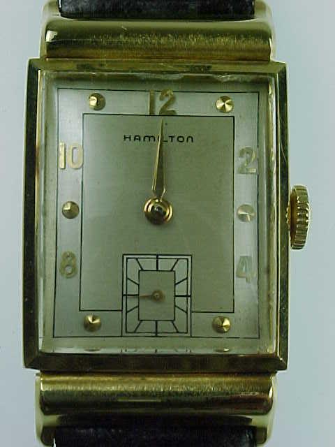 Vintage Hamilton Hooded Lug 14k Gold Mens Wrist Watch From