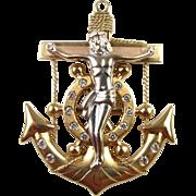 Vintage 14k Gold Two-Tone Mariners Cross Pendant - 12.8 Gram Nautical Crucifix