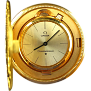SOLD Vintage 18k Omega Constellation Liberty $20 Gold Double Eagle Coin Watch Travel Clock