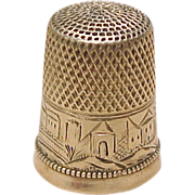 SOLD Ornate 14k Gold Thimble Size 9 Scenic Engraving / Personalized