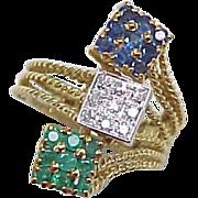 REDUCED Vintage 18k Gold Ring Sapphire Diamond & Emerald