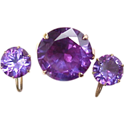 REDUCED Vintage Ring & Earring SET 18k Gold Alexandrite Thailand Original BOX