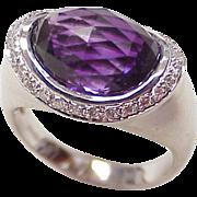 Unique Amethyst & Diamond 18k White Gold Ring