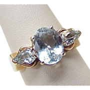 Aquamarine 2.95 ctw RING 10k Gold , Three Stone