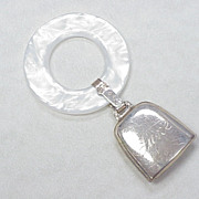 Sterling Silver Baby Rattle Teething Ring Engraved ~ June