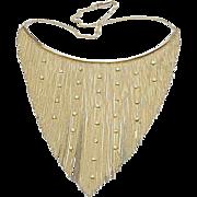Diamond Fringe Bib Necklace 14k Gold ~ Mid Century
