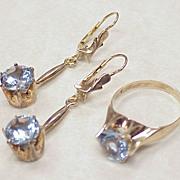 REDUCED Vintage Blue Spinel Set Long Dangle Earrings & Ring