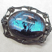 Morpho Butterfly Wing Brooch, Tropical Reverse Painted