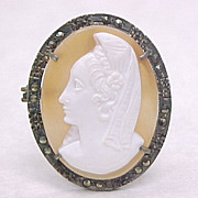 Cameo Pendant / Brooch 800 Silver & Marcasite