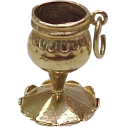 Vintage 14k Gold Charm CHALICE / Goblet Three Dimensional