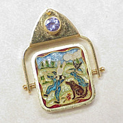 Hand Crafted Champlevé  Enamel Pendant Tanzanite Accent