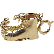 Two Mice on Old Shoe Charm 14k Gold Three Dimensional