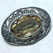 Edwardian Brooch Citrine Marcasite & 935 Sterling Silver