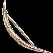 SALE Victorian 14k Gold Crescent Moon Brooch