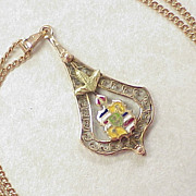 Victorian Rose Gold Necklace Enameled Heraldic Crest