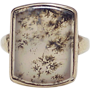 Victorian Dendritic / Moss Agate Ring 10k Gold