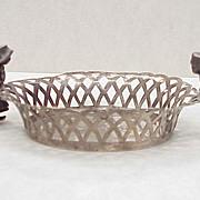 Sterling Silver Dutch Nut Dish w/ Figural Handles circa 1926