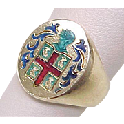 REDUCED Vintage 14k Gold CREST / Coat of Arms Ring Colorful Enameling