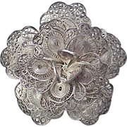 Early 1900's  Mexico Sterling Filigree BIG Flower Brooch