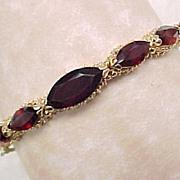 SALE Vintage Marquise & Pear Cut GARNET Bangle Bracelet 14k Gold