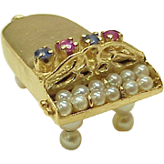 Large Vintage 14k Gold Grand Piano Charm ~ Jeweled