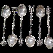 SOLD Vintage Sterling Silver Figural Demitasse Spoons JAPAN