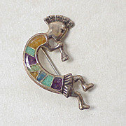 Kokopelli Brooch Sterling Silver Colorful Chip Inlay