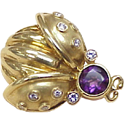 Lady Bug Brooch 18k Gold Diamond & Amethyst