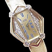 SOLD RETRO Lucien Piccard Ladies Diamond Dress Watch 14k Gold