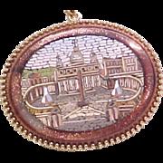 Grand Tour Micro Mosaic Pendant / Necklace St. Peters ROME 14k Gold