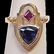 REDUCED Convertible Ring / Pendant Tanzanite & Pink Tourmaline 14k Gold