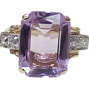Gorgeous RETRO Ring Amethyst Diamond & Two-Tone 14k Gold