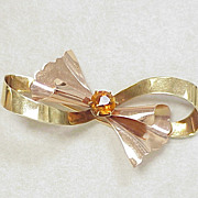 Retro Rose & Yellow Gold BOW Brooch 14k Citrine Accent
