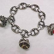 Gothic Revival Vintage 1930's  Charm Bracelet LARGE Multiple Gem Cannetille