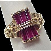Retro Ruby Ring 14k Gold ~ Unique Barrel Cut