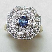 REDUCED Vintage Sapphire & Mine Cut Diamond Ring 1930's~  Arthritic Shank
