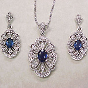 SALE PENDING Sapphire & Diamond Necklace & Earring Set 14k White Gold Filigree