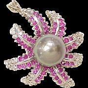 Tahitian Pearl, Diamond & Ruby Pendant / Brooch 18k White Gold