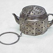 Vintage Sterling Silver Figural Tea Ball ~ Tea Pot