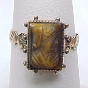 Early Victorian Carved Tiger Eye Cameo Ring 9k Gold