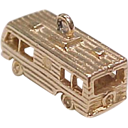 Vintage 10K Gold Travel Trailer / Motor Coach Charm